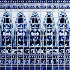 glass tile blue and white puzzle mosaic tile crackle