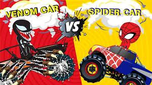 100 Spiderman Monster Truck Learn Colors Cartoon Song W Vs Venom