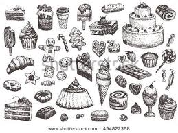 Sweet collection of drawings Illustrations of cakes pies biscuits ice cream