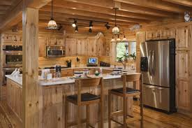 Comfortable Rustic Interior Design Meaning And Contemporary Refrigerator Facing Nice Counter Under Small Hanging Lamp For