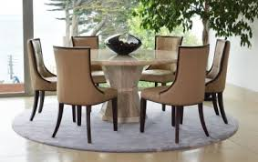 Vida Living Marcello Cream Marble Round Fixed Top Dining Set With 6 Beige Faux Leather Chairs