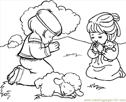 Praying Coloring Page 01