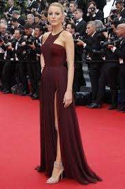 Evening Dresses Red Carpet by Blake Lively Burgundy Chiffon Celebrity Prom Dress Cannes Red