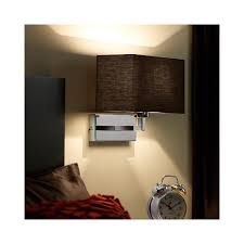endon 96750 ch piccolo 1 light chrome wall light with black shade