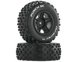 100 Tires For Trucks DuraTrax Punch SC 110 Mounted Slash Rear Truck Black 2