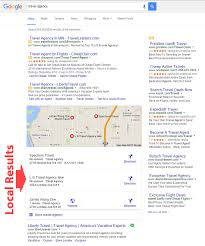 Google Local Results For Travel Agency