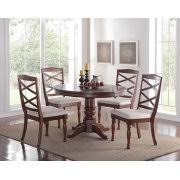 Cherry Wood Finish Modern Casual Dining Room Round Pedestal Base Table Cushion Chairs 5pc