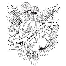 Thanksgiving Day Drawing To Print And Color With Feathers Chestnuts Vegetables Fruits