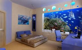 Decorate A Blue Bedroom Design Ideas For Teenage Girl With Deep Sea Wall Paper
