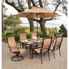 Hanover Monaco 7 Pc. Dining Set With Umbrella- Two Swivel Chairs ... Klaussner Outdoor Delray 7piece Ding Set Hudsons Breeze Ding Chair Alinum Frame Harbour Suncrown Brown Wicker Fniture 5piece Square Modern Patio To Enjoy Lovely Warm Summer Awesome Patio Quay Chair By King Living Est Living Design Directory Room Charming Image Of For Hampton Bay Belcourt Metal With Walmartcom Bilbao Five Piece Falster Ikea I Love The Looks Of This Outdoor Ding Set Table 10 Easy Pieces Chairs In Pastel Colors Gardenista