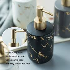 duolm edles bad accessoires set 4 teiliges stilvolles badzubehör mit marmor seifenspender seifenschale und zahnputzbecher badezimmer zubehör set