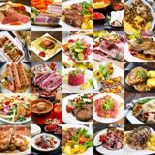 best international cuisine collage of different dishes of international cuisine stock