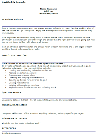 Unskilled Worker CV Example