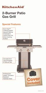 Patio Bistro Gas Grill Home Depot by Kitchenaid 2 Burner Propane Gas Grill In Black With Grill Cover