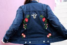 upcycled woman denim jeans patch jacket inspired by gucci