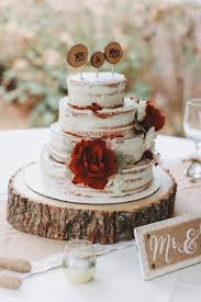 Awesome Rustic Wedding Cake Naked Wood Stand