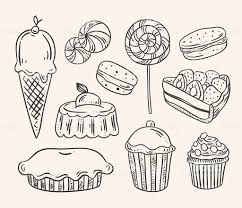 Sweet pastry cakes and desserts Hand drawn food illustrations royalty free sweet pastry cakes