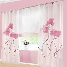 2 stücks gardinenschal gardine print blumen vorhang für wohnzimmer schlafzimmer schlaufenschal breit 150cm hoehe 145cm rosa