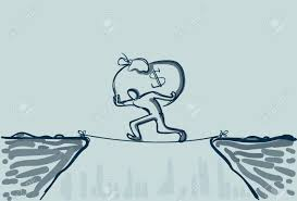 Business Man Walk Over Cliff Gap Mountain Carry Big Money Bag Risking Dangerous Vector Illustration Stock