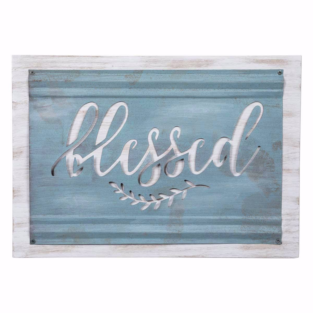 Brownlow Gift 165675 13.75 x 10 in. Blessed Acid Wash Sign Blue & Grey