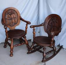 Match Pair Of Antique Oak Rocker And Arm Chair - Carved Back Of Ben  Franklin With Cello Details About Copper Grove Taber Oak Carved Rocker Chair 25 X 3350 4 Danish Carved Oak Armchair Dated 1808 Bargain Johns Antiques Victorian Antique Rocking Vintage Childs Rocking Chair Ssr Childs Hand Elephant In So22 Sold Era With Leather 1890s Ornate Lift Glastonbury Armchair 639070 Larkin Soap Company Ribbon Back Wainscot Second Half 17th Century Isolated