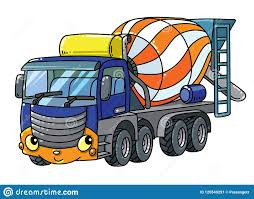 Funny Concrete Mixer Truck With Eyes And Mouth Stock Vector ...