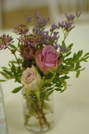 Autumn Style Wedding Flowers Jam Jars And Vintage Roses Rustic Tea Stained Lilac