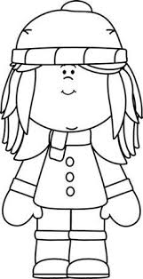 Winter Clothes Clip Art Black and White
