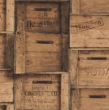Wooden Crate Wallpaper Brown Bolt Contemporary