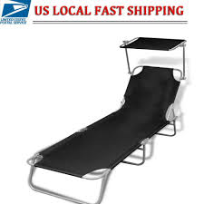 Details About Outdoor Folding Reclining Canopy Sun Patio Chaise Lounge  Chair Pool Lawn Lounger