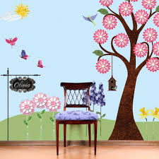 Beautiful Wall Painting Applied On Washable Paint A Simple Wooden Chair