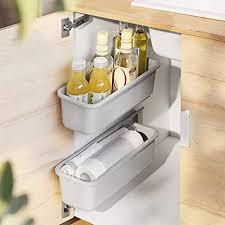 baffect 2 stk schiebekorb schrank organizer für küche bad ausziehbare schubladen unter waschbecken schrank organizer wandmontage schiebekörbe für