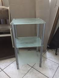 badezimmer küchen glas kommode schrank metall abstell regal grau