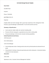 Call Center Resume Example Centre Manager Template Examples