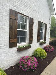 Awesome Shutters Custom Board And Batten Shutter Farmhouse Wood Rustic Stained Exterior