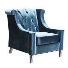 armen living barrister chair with crystal buttons in blue velvet