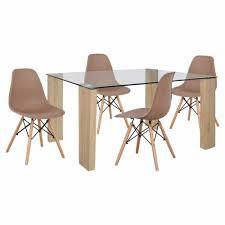 esszimmer set 5 teilig stühle in cappuccino 140x80x75