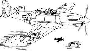 Airplane P51 Sky Domination Coloring Page