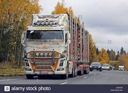 100 Scorpion Truck JOKIOINEN FINLAND OCTOBER 6 2017 Customized Volvo FH Logging