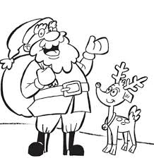 Reindeer And Santa Christmas Coloring Pages For Kids