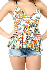 womens ladies cami strappy floral bralet flared wrap over v neck