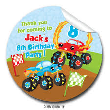 100 Kids Monster Trucks Birthday Party Stickers Labels