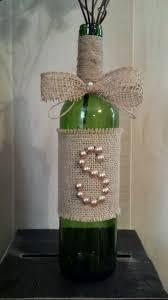 Rustic Burlap Pearl Initial Monogram Wine Bottle Wedding Decor