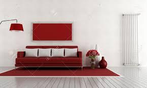 modernen roten und wohnzimmer mit und vertikale heizkörper rendering