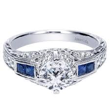 18K White Gold Pave Set Sapphire Engagement Ring