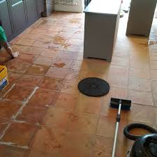 cleaning a 90m2 terracotta tiled kitchen floor in alderley