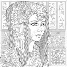Stylized Ancient Queen Cleopatra Or Nefertiti And Egyptian Symbols Hieroglyphs On The Background Freehand Sketch For Adult Anti Stress Coloring