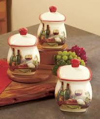 1695 3 Pc Vineyard Canister Set Wine Theme Kitchen Storage Organization Home Decor E Bay