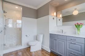 shower with glazed subway tiles transitional bathroom