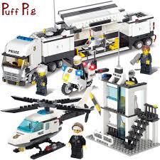 100 Toys 4 Trucks Police Station Helicopter Building Blocks Set Compatible